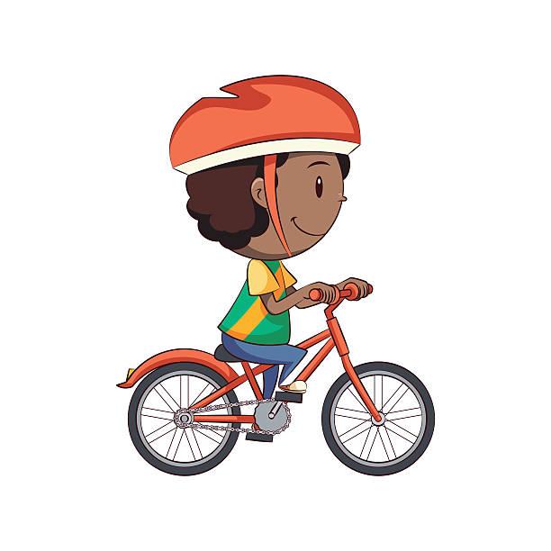 Boy Riding Bike Vector Art Illustration