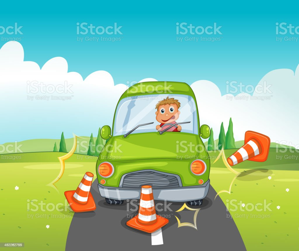 Boy riding on a green car bumping the traffic cones royalty-free boy riding on a green car bumping the traffic cones stock vector art & more images of adult