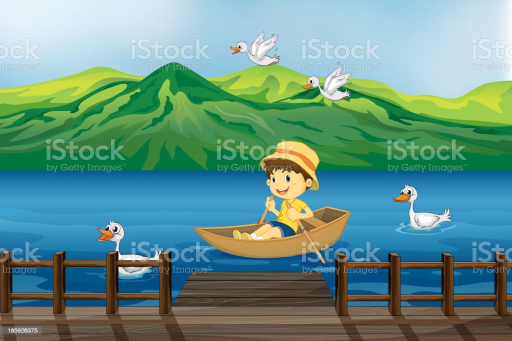 boy riding on a wooden boat vector art illustration