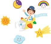 Boy riding plane on the sky and symbol set,isolated illustration