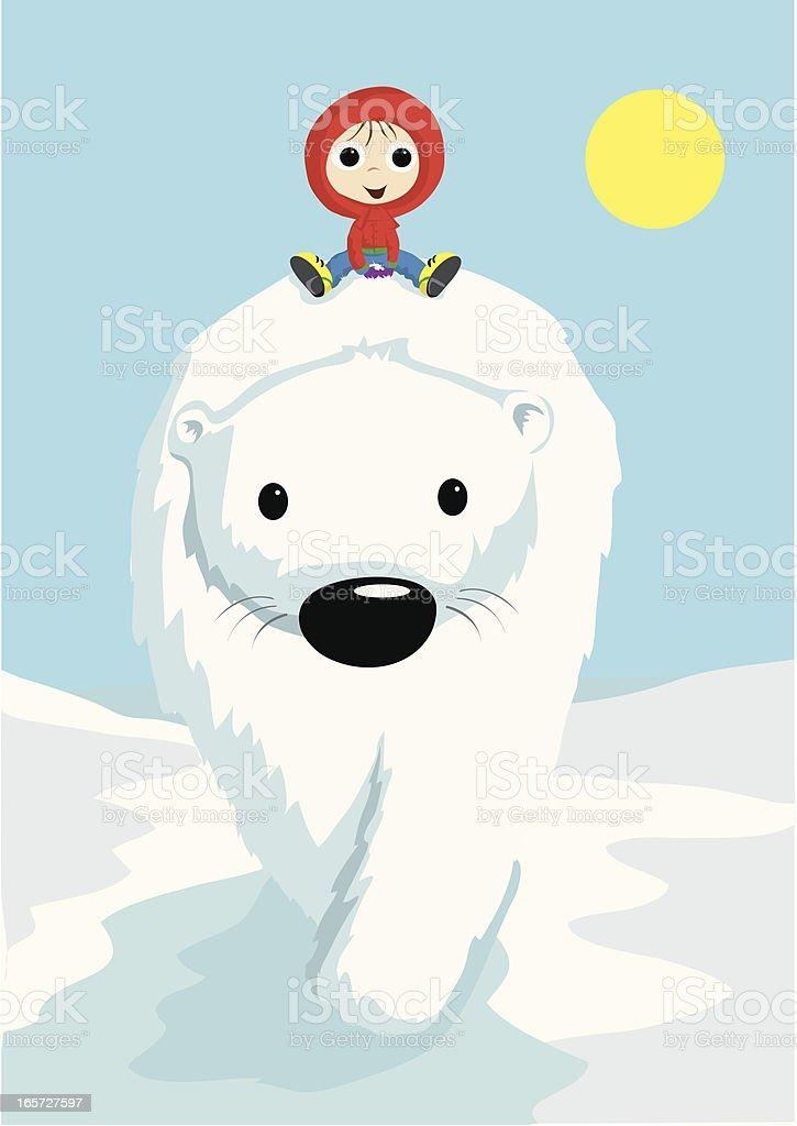 Boy riding polar bear royalty-free boy riding polar bear stock vector art & more images of adventure