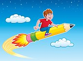 Cartoon illustration of a boy in red t-shirt and blue pants,riding on top of a yellow rocket pencil that is blasting through the sky with a stars and clouds in the background.
