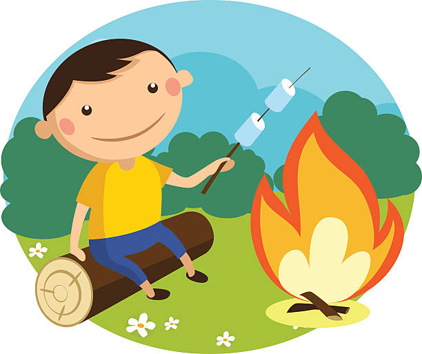 Boy Roasts Marshmallows On A Stick Over Campfire Vector Art Illustration