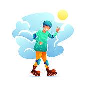 Boy roller skating flat character
