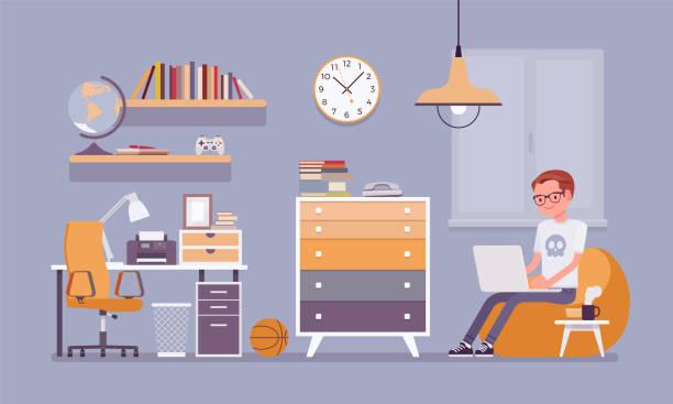 少年の部屋のインテリア デザイン - リビング点のイラスト素材/クリップアート素材/マンガ素材/アイコン素材