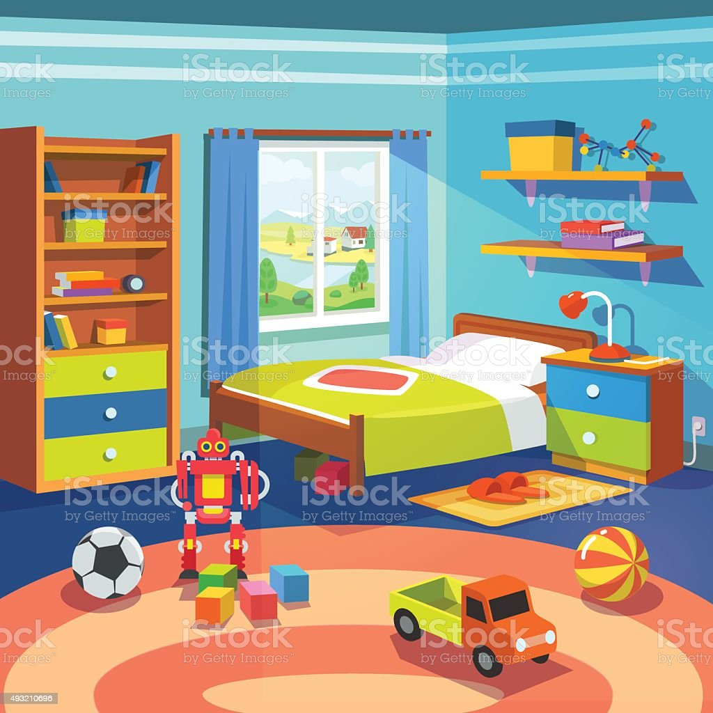 Boy Room With Bed Cupboard And Toys On The Floor Stock