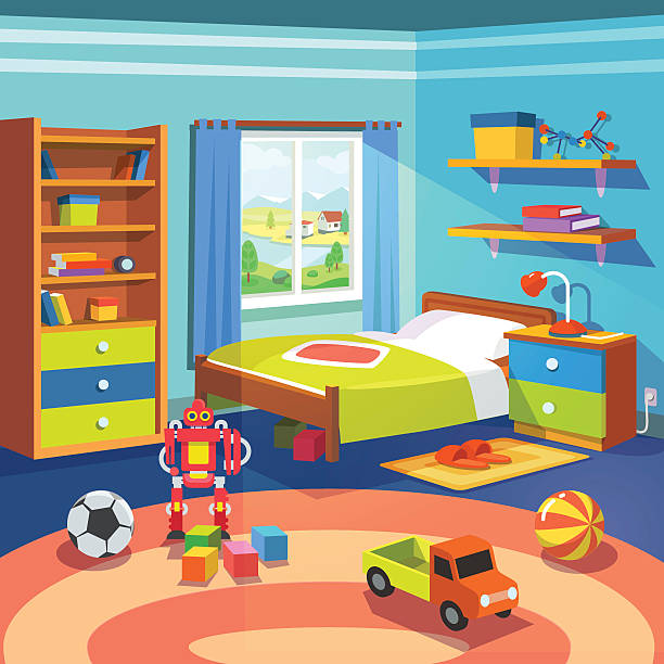 Boy room with bed, cupboard and toys on the floor Boy room with big window suffused with light. With bed, cupboard, shelves, and toys on the floor. Flat style cartoon vector illustration. bedroom backgrounds stock illustrations