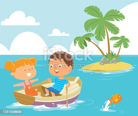 istock Boy rowing boat with girl as passenger 1251539659