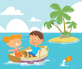 Vector Boy rowing boat with girl as passenger.