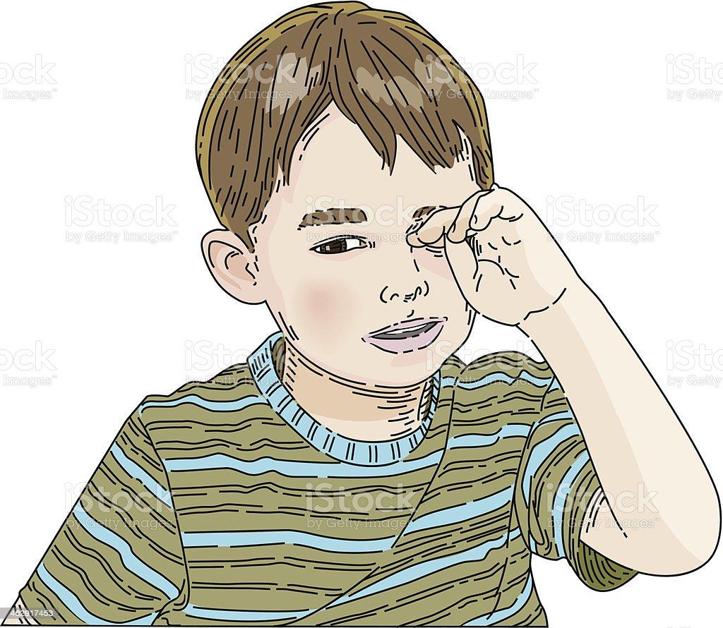Boy Rubbing Eyes C vector art illustration