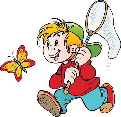 Boy run net to catch butterfly.