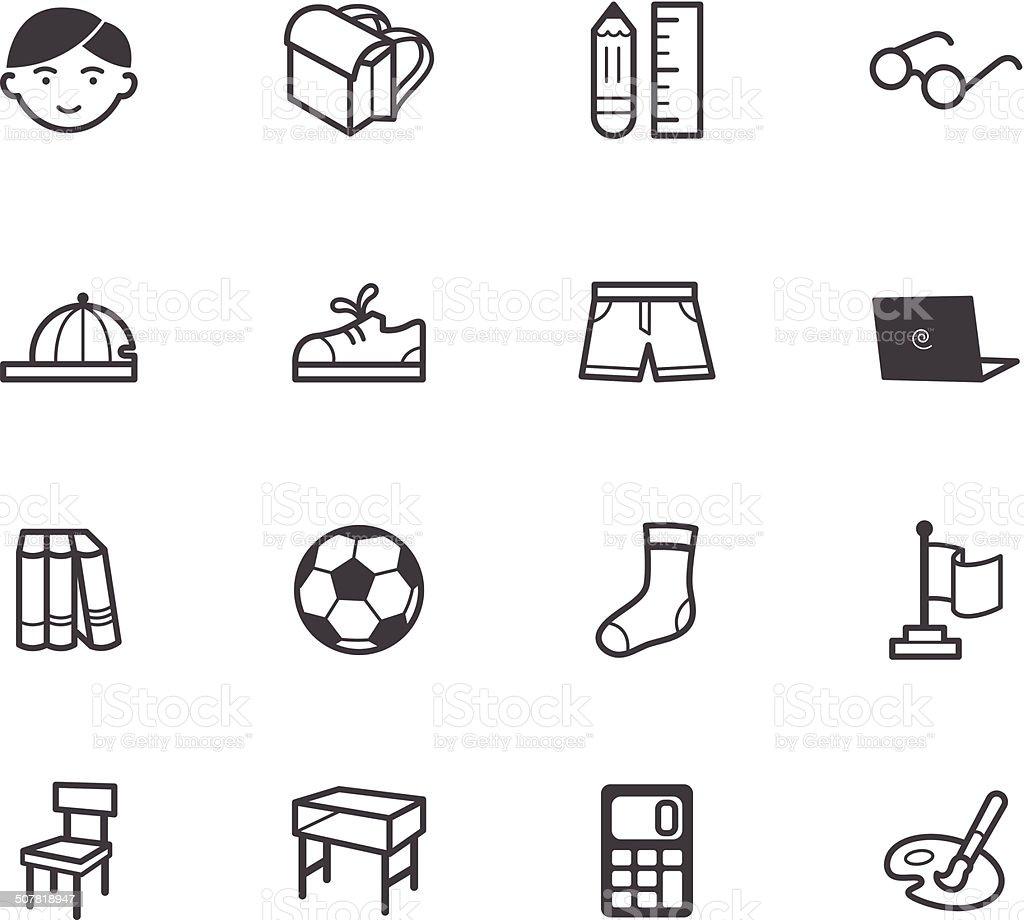 boy school vecter black icon set on white background vector art illustration