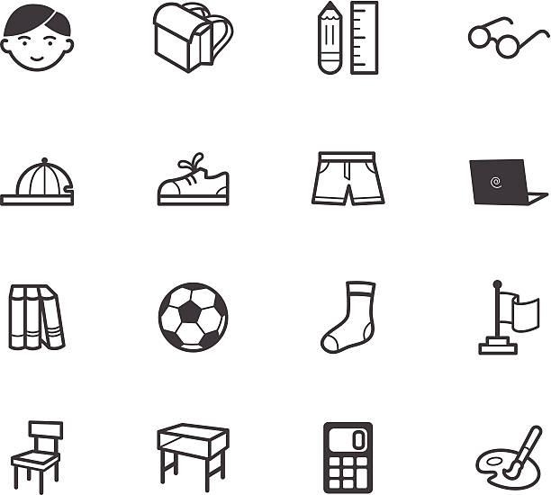 남자아이 학교 vecter 검정색 아이콘 세트 (흰색 배경 - 모자 모자류 stock illustrations