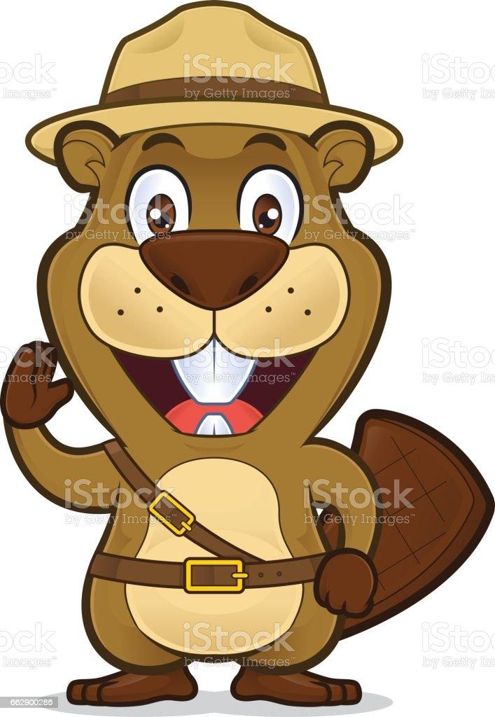 Boy scout beaver vector art illustration