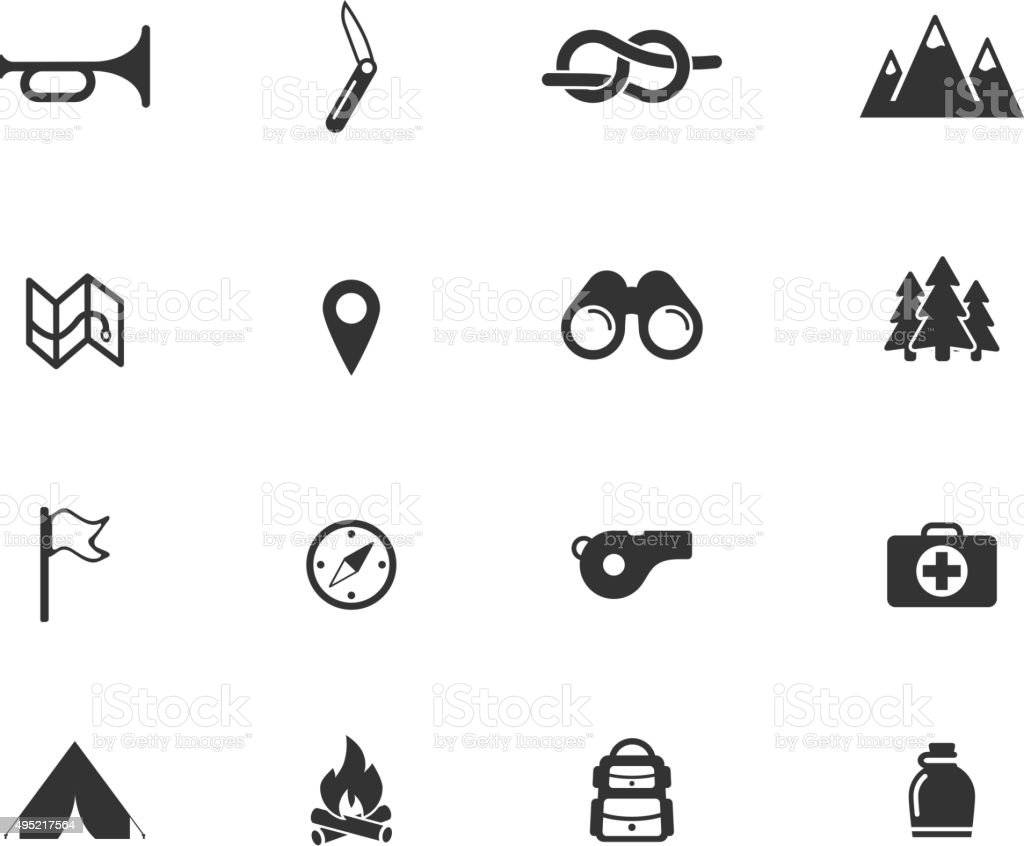 Boy scout simply icons vector art illustration