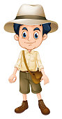 A Boy Scout Wearing Hat illustration