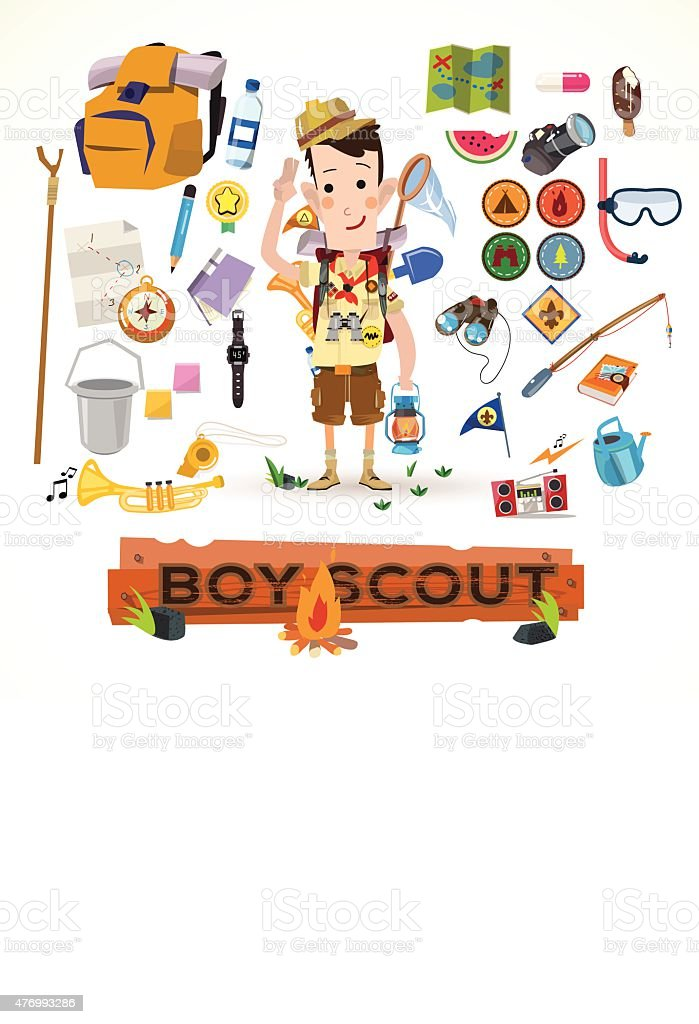 boy scout with camping equipment and object - vector illustration vector art illustration