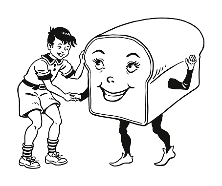 Boy Shaking Hands with a Loaf of Bread