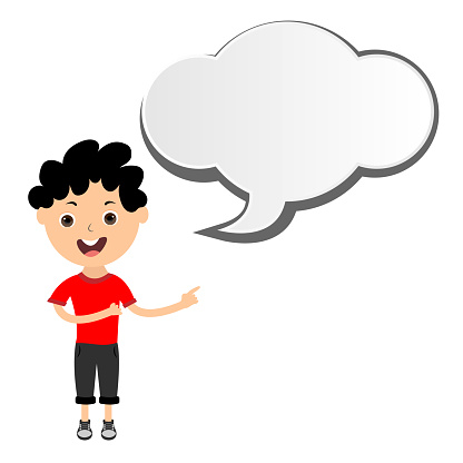 Boy shows the message in the speech bubble