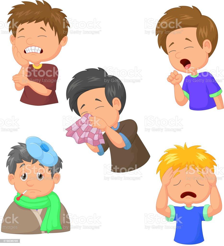 Boy sick cartoon collection vector art illustration