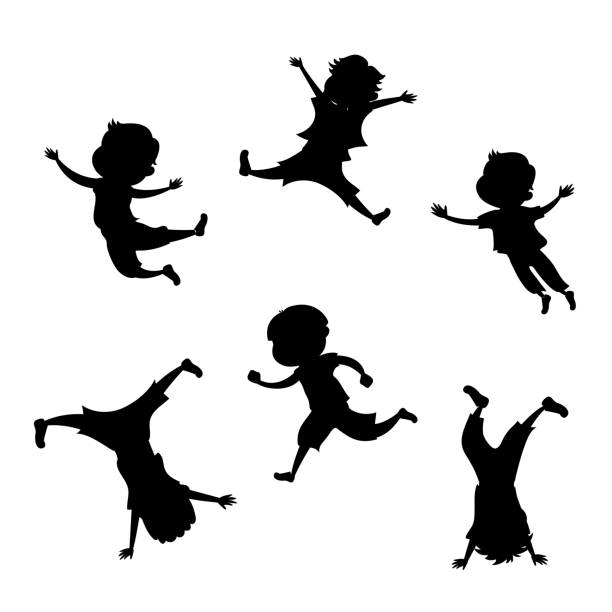 boy silhouette in 6 action poses - jumping stock illustrations