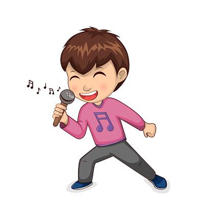Boy Singing Happily Hobby Vector Illustration