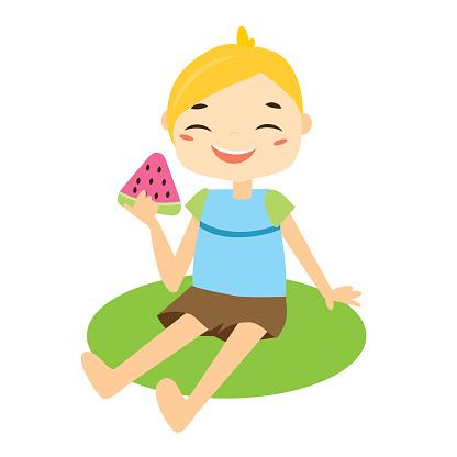 Jongen Sittiing Op Gras Eten Van Watermeloen Stockvectorkunst en meer beelden van Baby