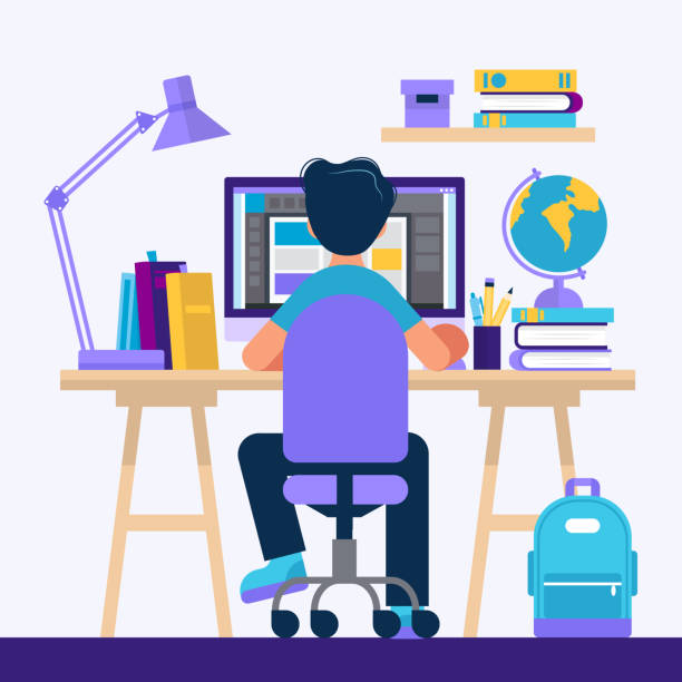 Boy sitting at the desk, learning with computer. Concept illustration for online learning, education, office work, school or university. Vector illustration in flat style vector art illustration
