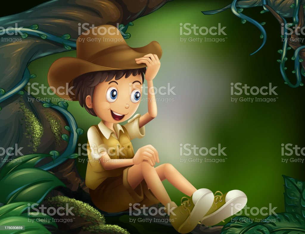 boy sitting in a tree at the rainforest royalty-free stock vector art