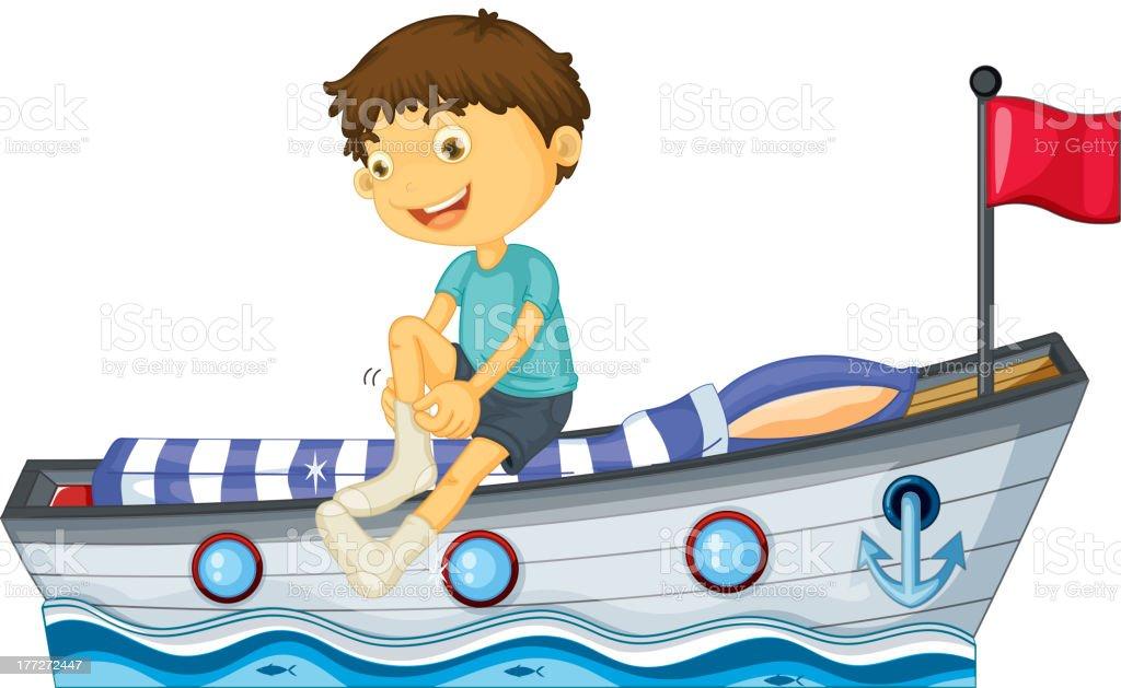 Junge sitzt im Boot-Fixierung seine Socken – Vektorgrafik