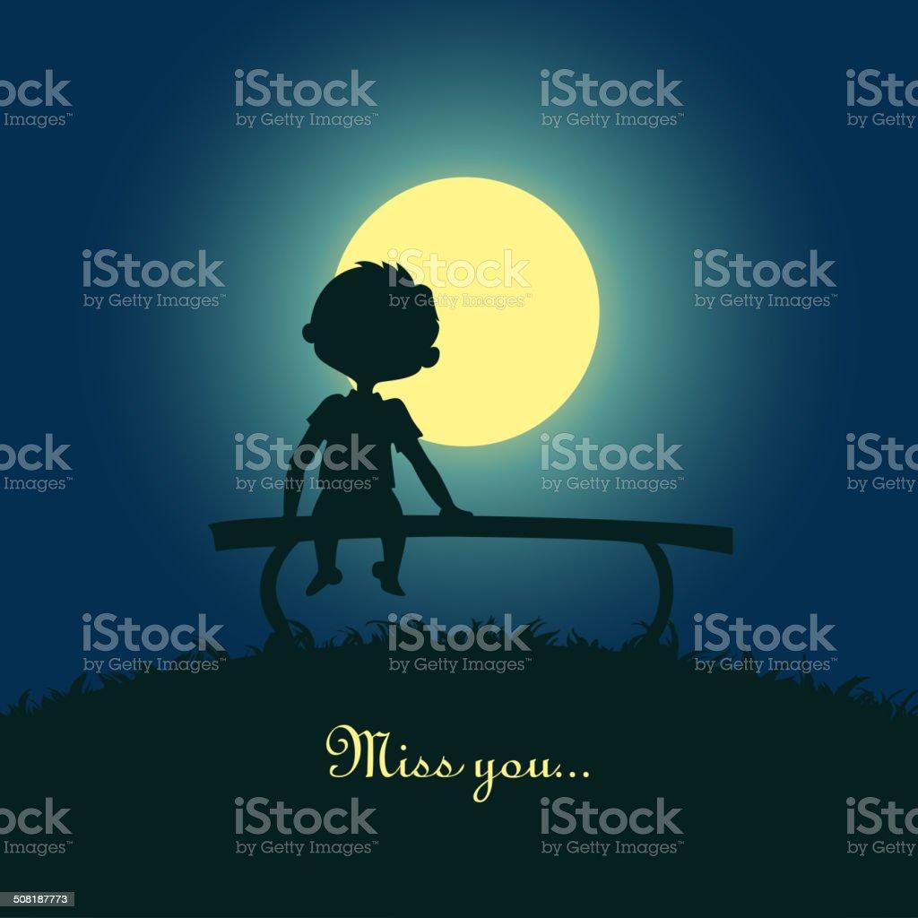 Boy sitting lonely in the moonlight vector art illustration