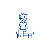Boy sitting on the bench line icon concept. Boy sitting on the bench flat  vector symbol, sign, outline illustration.