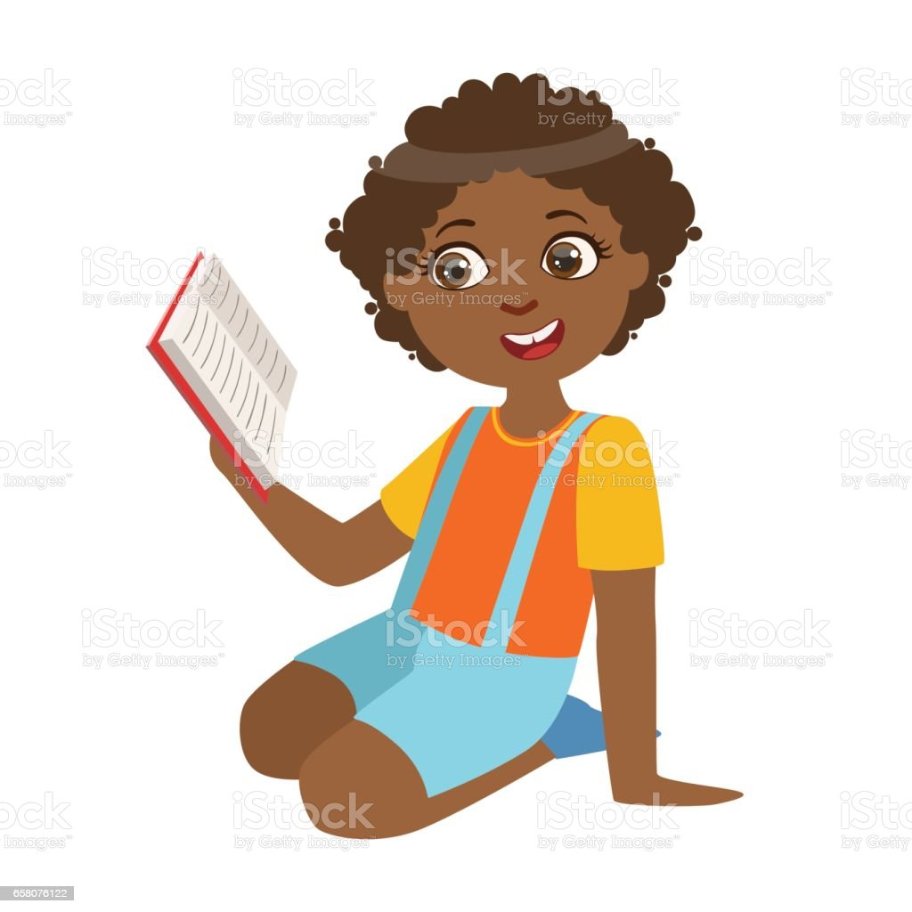 Boy Sitting On The Floor Reading A Book, Part Of Kids Loving To Read Vector Illustrations Series royalty-free boy sitting on the floor reading a book part of kids loving to read vector illustrations series stock vector art & more images of book