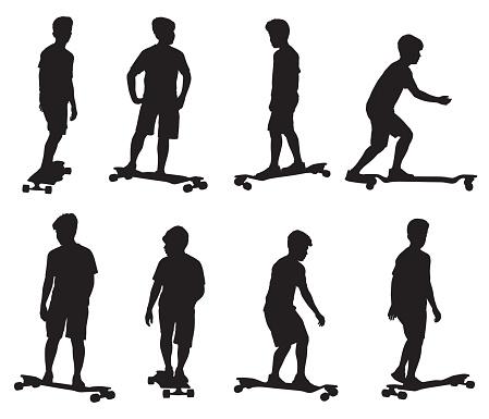 Boy Skateboarding Sihouettes