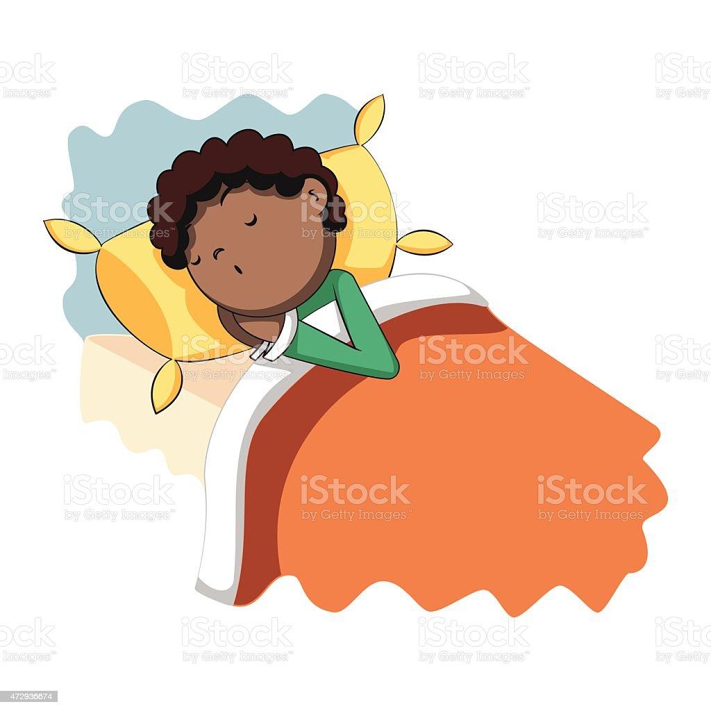 Boy sleeping in bed, vector illustration vector art illustration