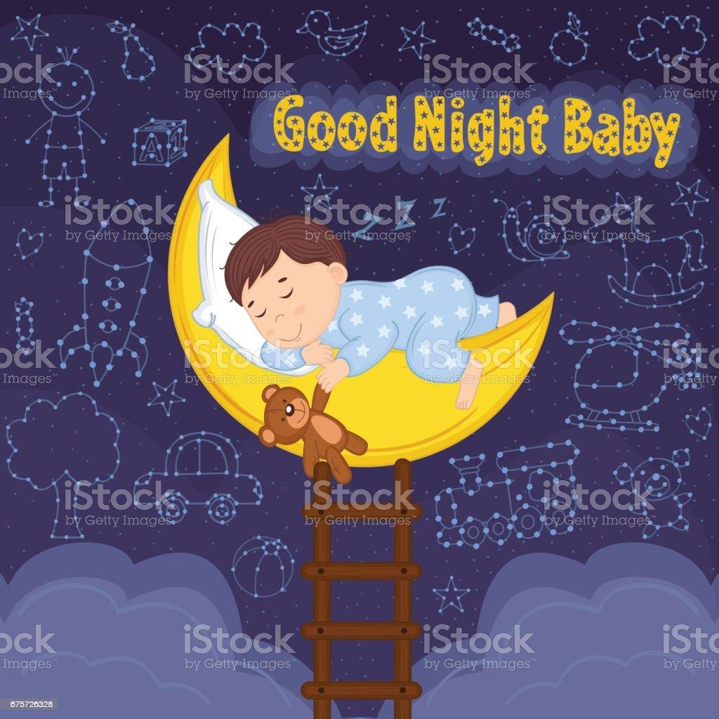boy sleeps on moon vector art illustration