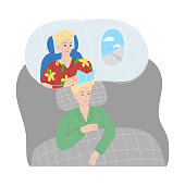 Hand drawn boy slepping in bed at home and seing himself traveling by plane in night dream over white background vector illustration. Night dreams concept