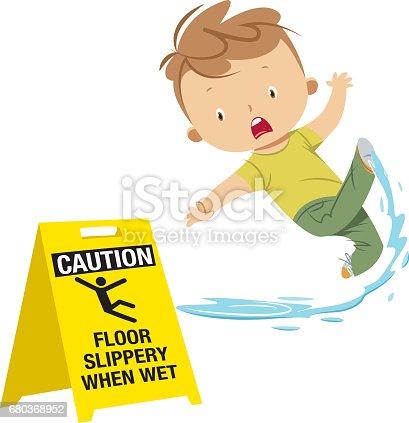 Boy Slipping On Wet Floor Stock Vector Art Amp More Images