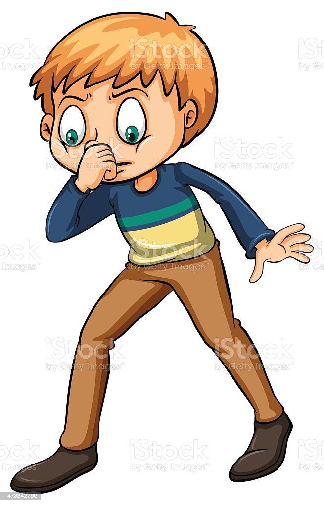 Boy smelling a fishy odor vector art illustration