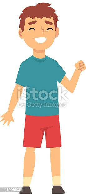 Boy smiles and shows a fist in support cartoon vector illustration