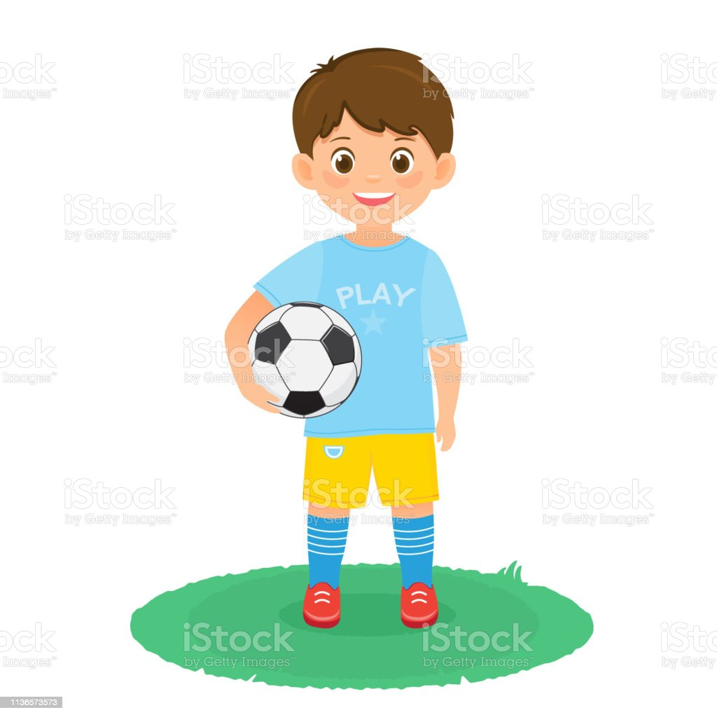 Boy soccer player in uniform with a soccer ball. Vector illustration....