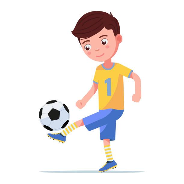 stockillustraties, clipart, cartoons en iconen met jongen voetbalspeler schoppen de bal op zijn been - tienerjongens