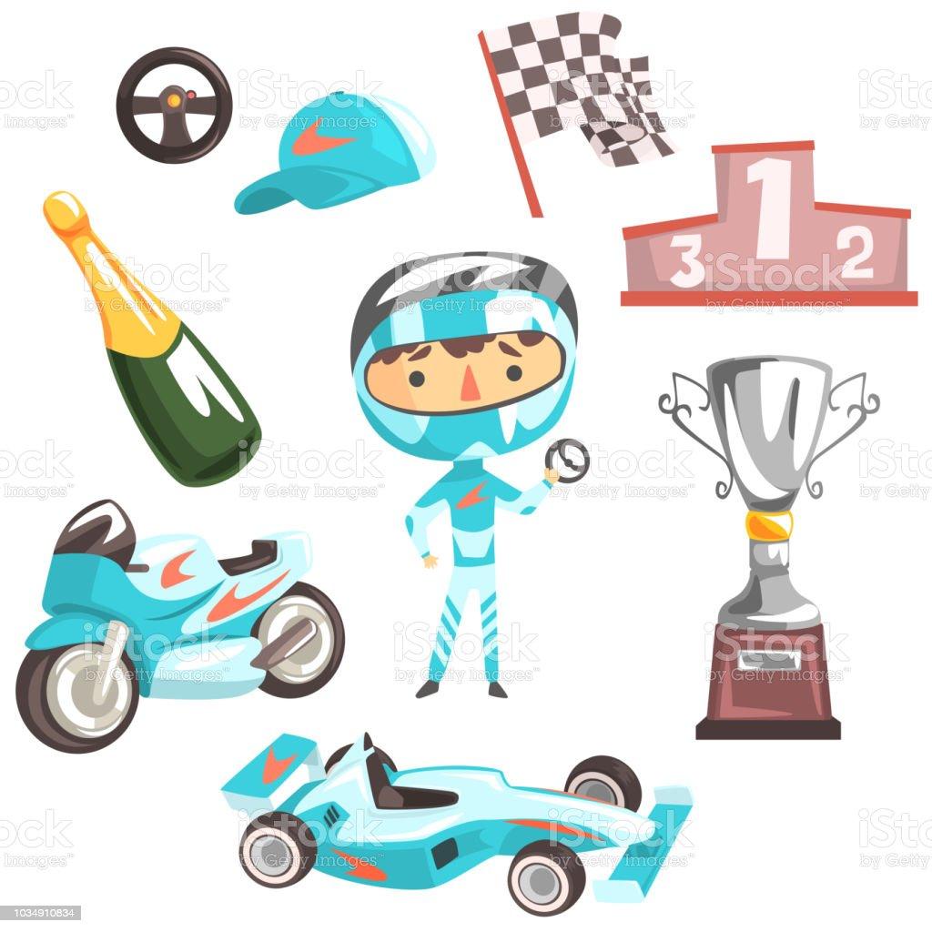 Junge Speed Racer Kids zukünftige Traum Fachberuf Illustration mit Zusammenhang mit Beruf Objekte – Vektorgrafik
