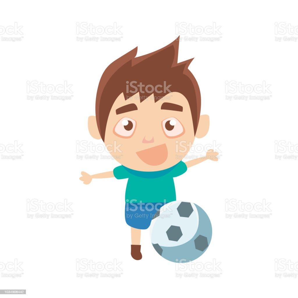 Junge Sportler Spielen Fussball Teil Des Kindes Sport