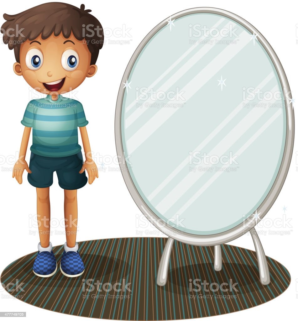 Boy standing beside the mirror royalty-free stock vector art