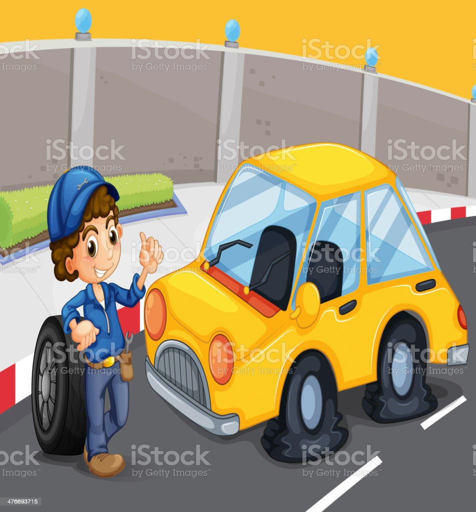 Boy standing in front of car with flat tire royalty-free boy standing in front of car with flat tire stock vector art & more images of adult