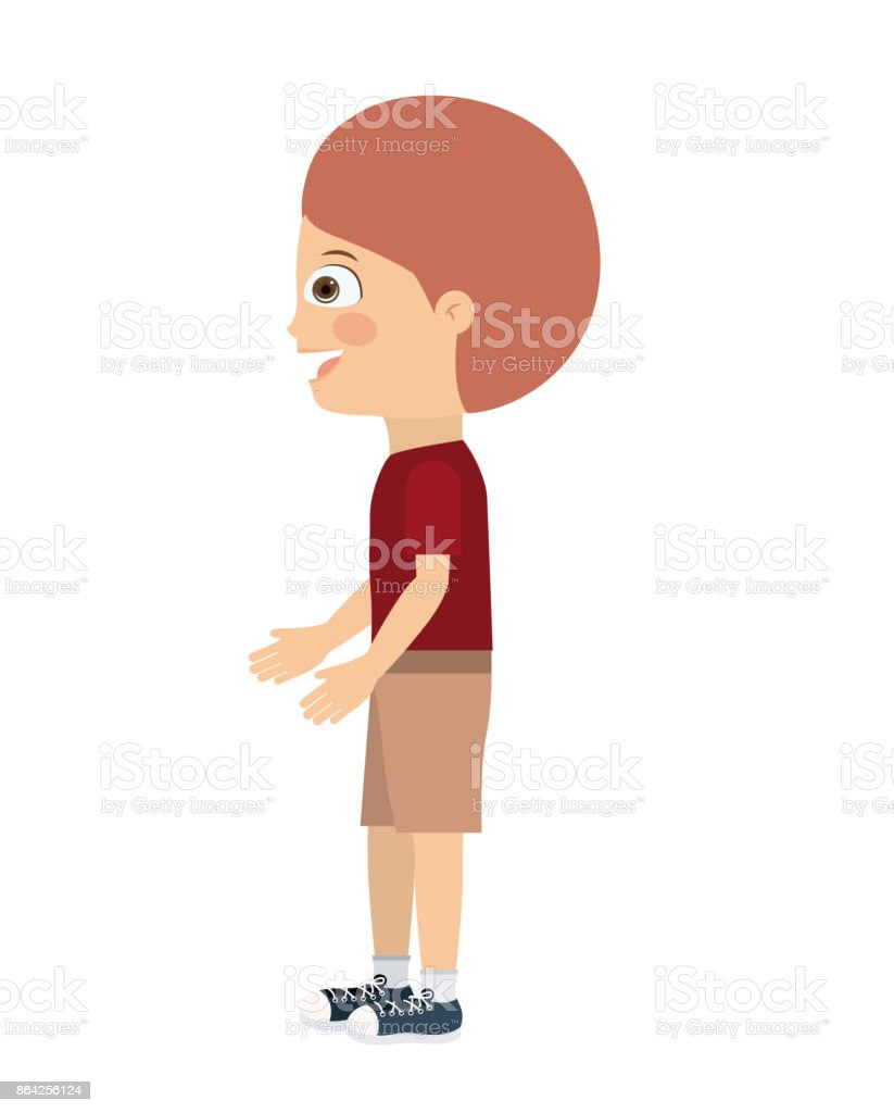 boy standing looking aside isolated icon design royalty-free boy standing looking aside isolated icon design stock vector art & more images of adult