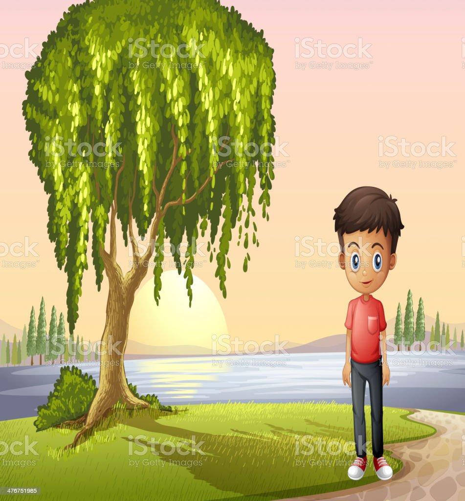 Boy standing near the giant tree royalty-free stock vector art