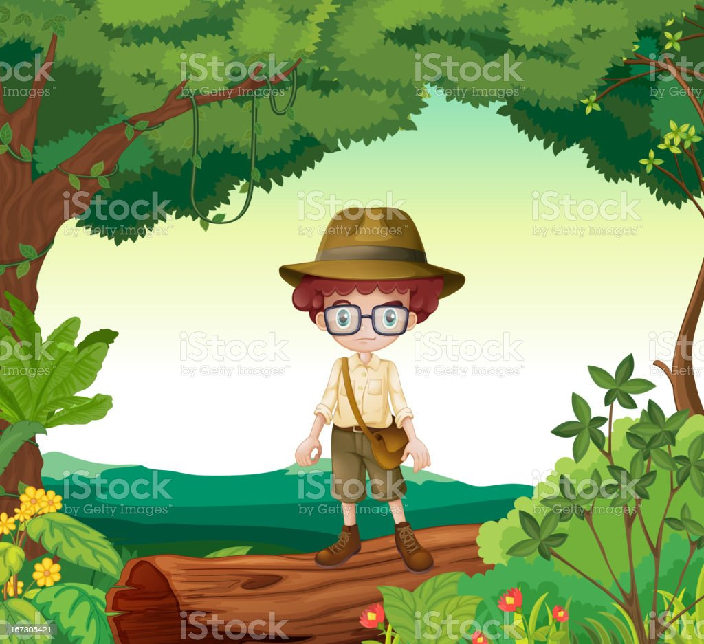 Boy standing on a timber beam royalty-free boy standing on a timber beam stock vector art & more images of adult