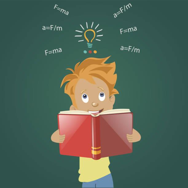 ilustrações, clipart, desenhos animados e ícones de um menino fica e lê um livro - salas de aula